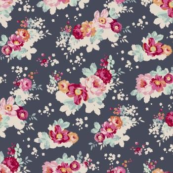 Fabric - Tilda - Memory Lane - FlowerCloud - Dark Slate