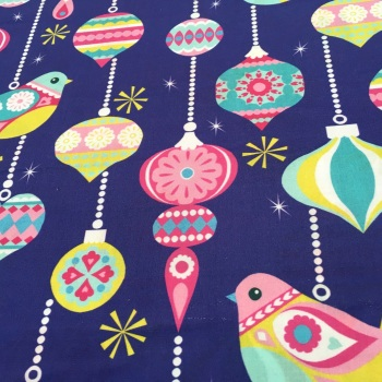 SALE FABRIC FELT SHEET - Limited Edition - Birds & Baubles - Purple