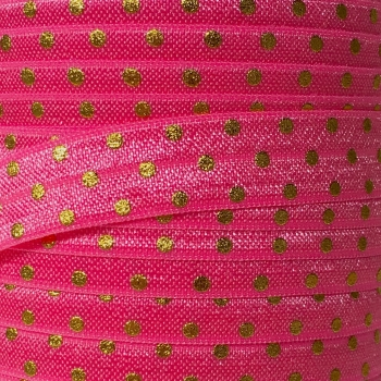 Fold Over Elastic - Metallic Polka Dot - Bright Pink/Gold