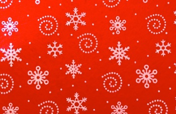 Acrylic Patterned Felt Sheet - Snowflakes - Red
