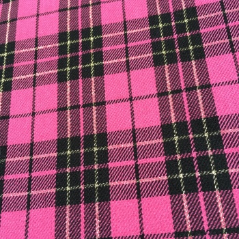 FABRIC FELT - A4 Sheet - Metallic Tartan - Bright Pink