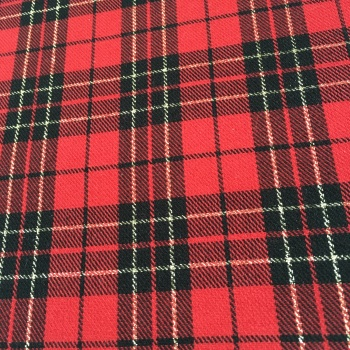FABRIC FELT - A4 Sheet - Metallic Tartan - Red