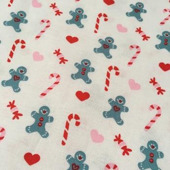 SALE Fabric  - Copenhagen Print Factory - Gingerbread Man & Candy on White