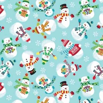 Fabric  - Makower - Frosty Snowman - Light Blue