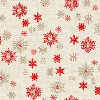 SALE Fabric  - Makower - Scandi Snowflakes - Red Hessian