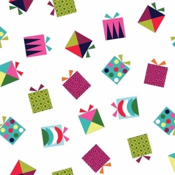 SALE Fabric  - Makower - Wrap Presents - White