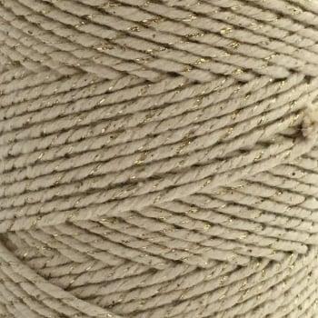 5 Metres - Bakers Twine: Cream/Metallic Gold