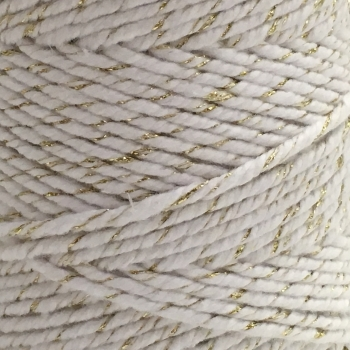 5 Metres - Bakers Twine: White/Metallic Gold