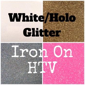 IRON ON White/Holo Glitter