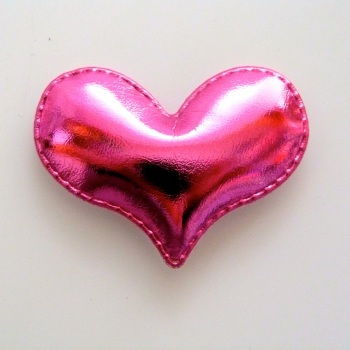 54mm Padded Metallic Heart - Bright Pink