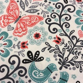 Fabric - Makower - Papillon - Butterfly - Coral