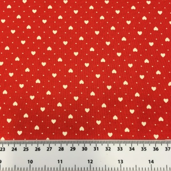 Fabric - Hearts & Polka Dots - Red