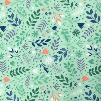 FABRIC FELT - Floral Splendour - Mint