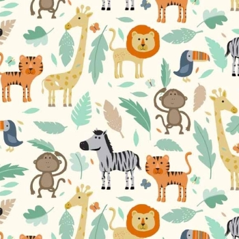 Fabric - Makower - Baby Jungle - Safari