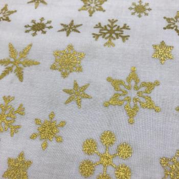 Fabric - Snowflake - Metallic Sparkle Cotton - Gold