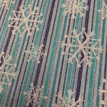 Fabric - Metallic Snowflake Stripe