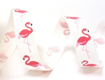 16mm wide Grosgrain Ribbon - Flamingo - White