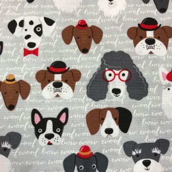 Fabric - Classy Canines - Grey