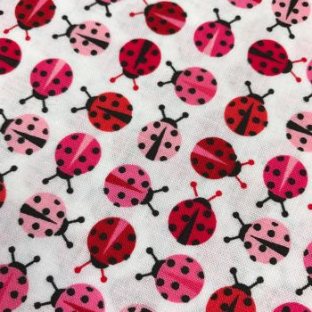 Fabric - Urban Zoologie Minis - Pink Ladybirds