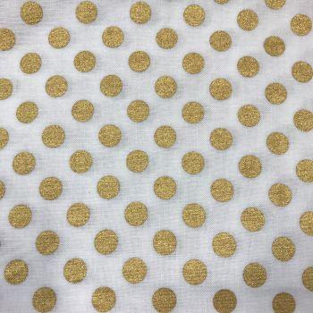 Fabric - Robert Kaufman - Spot On Metallic - White/Gold (Medium Dot)