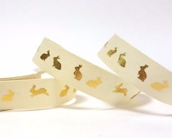15mm wide - Fancy Bunny Metallic Gold Ribbon