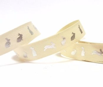 15mm wide - Fancy Bunny Metallic Silver Ribbon