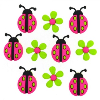Dress It Up Button Pack - Ladybug Crossing
