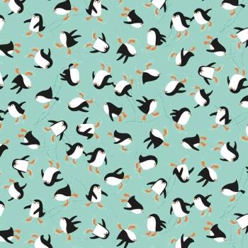 Fabric - Makower - Novelty - Skating Penguins - Turquoise