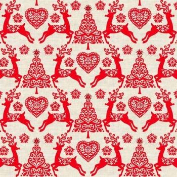 Fabric - Makower - Scandi 4 - Reindeer - Red