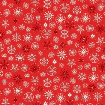 Fabric - Makower - Scandi 4 - Snowflakes - Red