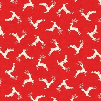 Fabric - Makower - Scandi 4 - Scatter of Reindeer - Red