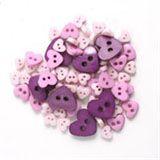 Trimits Mini Heart Buttons - Pink/Purple