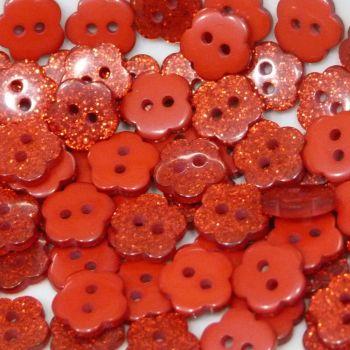 Pack of 10 - Glitter Flower Buttons