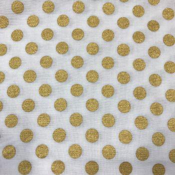 FABRIC FELT - Robert Kaufman - Spot On Metallic - White/Gold (Medium Dot)