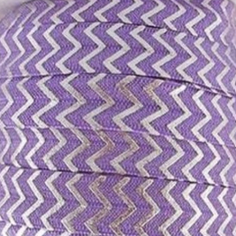 Fold Over Elastic - Metallic Chevron - Lilac/Silver