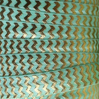 Fold Over Elastic - Metallic Chevron - Mint/Gold