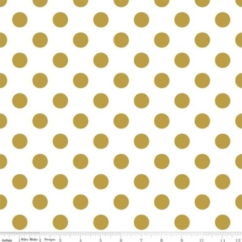 Fabric - Polka Dot - Sparkle - Gold (Large Dot)