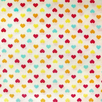 Fabric - Sevenberry - Multicoloured Hearts - Yellow