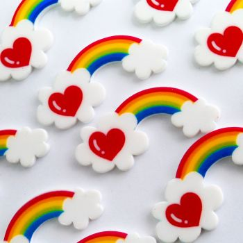 Plastic Resin - Rainbow Heart