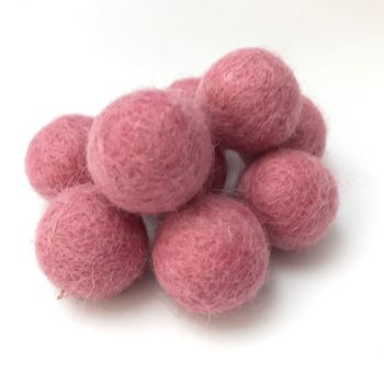 2cm Wool Felt Ball - Raspberry
