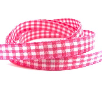 10mm Gingham Ribbon - Bright Pink