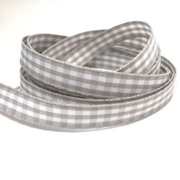 10mm Gingham Ribbon - Grey