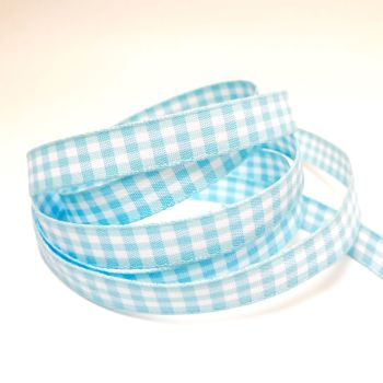 10mm Gingham Ribbon - Light Blue