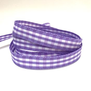 10mm Gingham Ribbon - Lilac