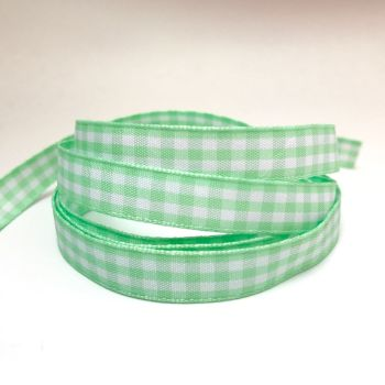 10mm Gingham Ribbon - Mint