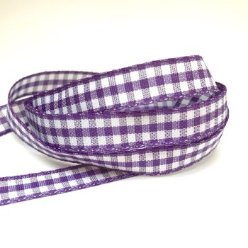 10mm Gingham Ribbon - Purple