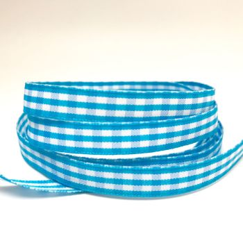 10mm Gingham Ribbon - Turquoise