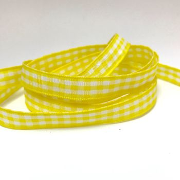 10mm Gingham Ribbon - Yellow
