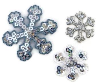 Iron/Sew On Snowflake Motifs - Pack 4