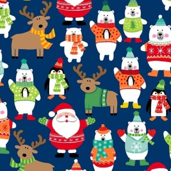 FABRIC FELT Christmas - Novelty - Scatter - Navy